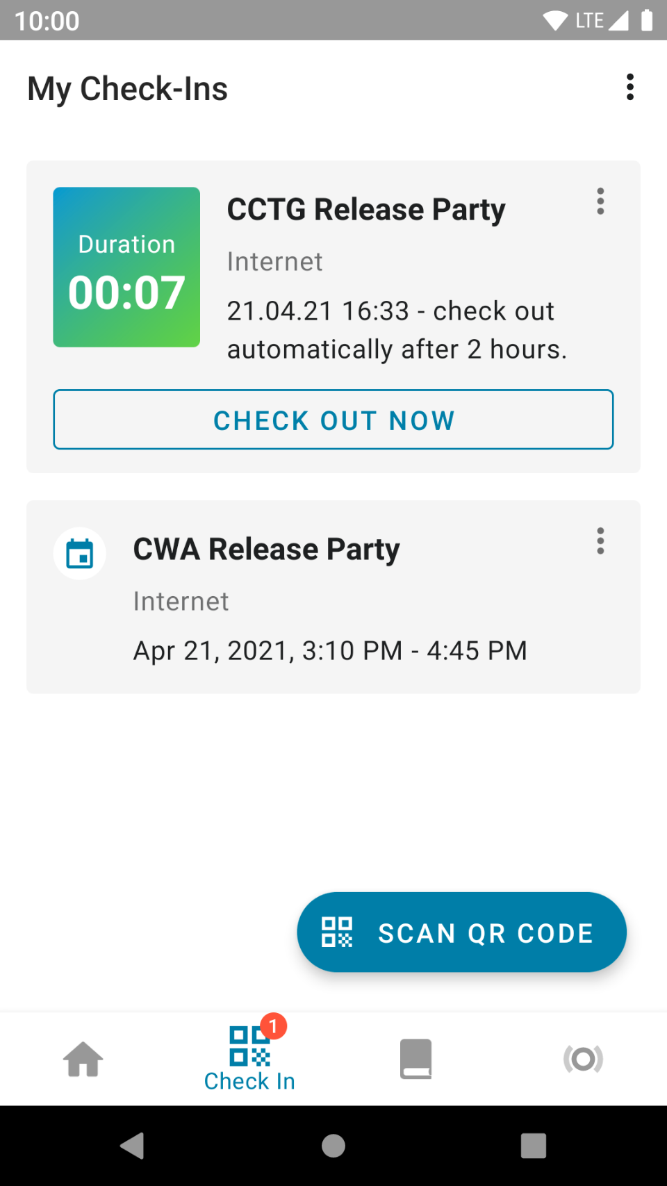 """My Check-Ins screen in CCTG. User has been checked in to """"CCTG Release Party"""" for seven minutes. User had checked in to """"CWA Release Party"""" earlier today."""